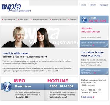 Versorgungswerk des BVpta - Internetangebot